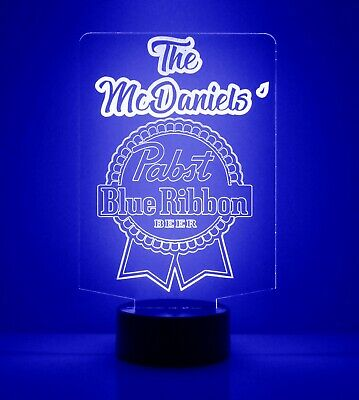 Personalized Pabst Blue Ribbon Beer Logo Bar Sign Mancave LED Remote Control