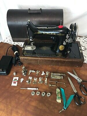 SERVICED Heavy Duty Vtg Singer Sewing Machine 99 Denim Leather Portable 3/4 Size