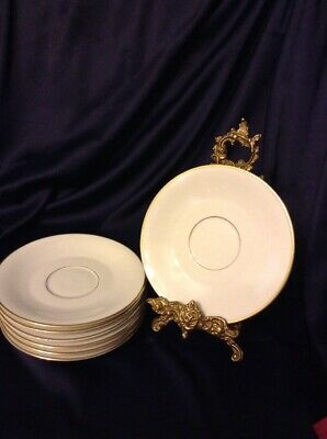 hc selb bavaria germany heinrich White And Gold Saucers Set Of 7