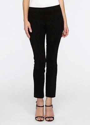 Vince Stretch Suede Leather Cropped Leggings Pants Black S/Small $975 NWOT