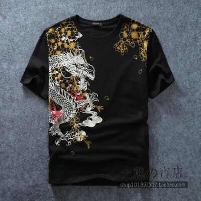 Men Tops Cotton Chinese Dragon Printing Youth Summer Comfort T-shirt Blouses New