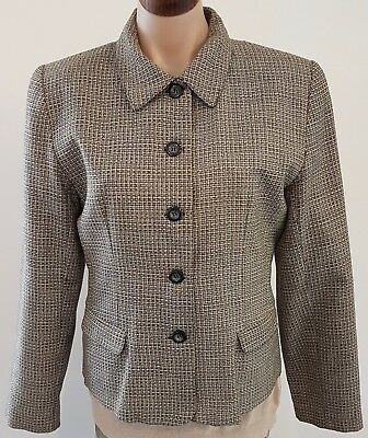Vintage 90s POSTIE FASHIONS Australia Made Gold Black TWEED Check JACKET size 10