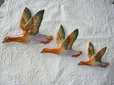 Vintage English Pottery Flying Wall Hanging Ducks . Summerbank Pottery