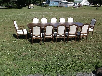 Super nice stickley table and 12 chairs long and great textured chairs stickley