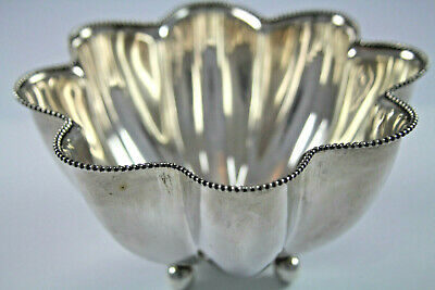 Towle Vintage Sterling Silver Scalloped and Footed Bowl with Beaded Edge