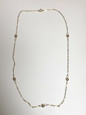 "Vintage? 14k Yellow Gold Girl's / Children's Ball Chain Necklace 15"" Long"