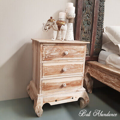 OPIUM Bedside Table 3 Draw in - WHITEWASH (Large)