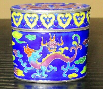 Rare Old Chinese Silver Cloisonne Repousse Enamel Dragon Opium Jar Box Signed