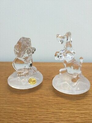 Pair Of Cristal d'Arques France Crystal Glass Circus Animals- Lion & Poodle Dog.