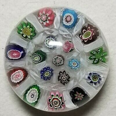 Antique 19th C. Clichy Glass Paperweight Chequered Millefiori W/ Rose Cane As-Is