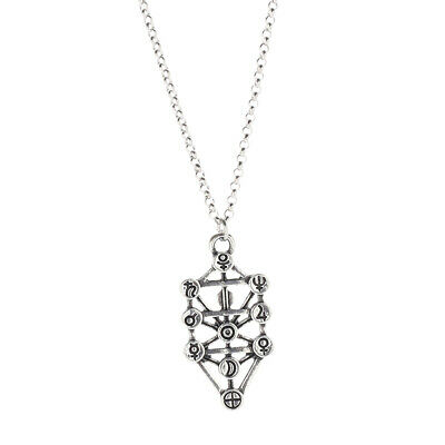 Silver Unisex Alloy Chain Kabbalah Sephirot Tree of Life Pendant Necklace