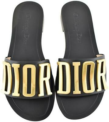 16b73da7640a79 NIB Dior Black Gold Logo Diorevolution Leather Mule Slide Flat Sandals 35