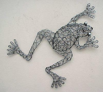 Unusual Twisted Wire 3D Wall Frog Hand Made Silver Wire 3D Bali Wall Art Frog