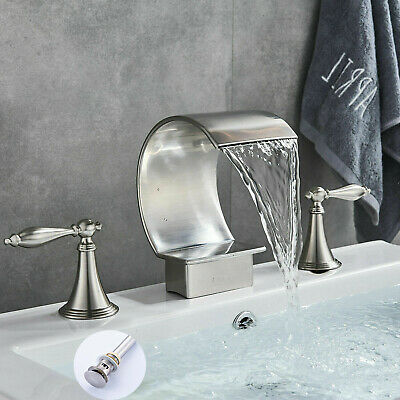 BWE Waterfall Bathroom Sink Faucet Single Handle Basin Faucet With Cover Drain