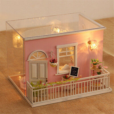 Doll House Miniature DIY Kit Dollhouse Furniture with LED Light + Dog Toys Gifts