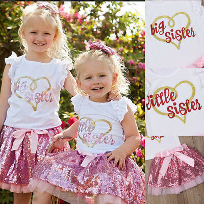 Baby Girls Little/Big Sister Ruffle Tops Sequins Tutu Skirt Outfits Set Clothes