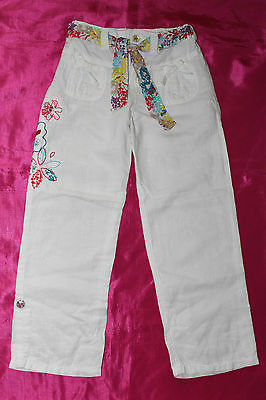 Autograph Marks & Spencer COTTON&LINEN girls white summer trousers age 5-6 years
