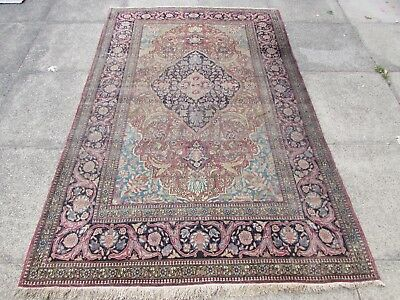 Antique Hand Made Traditional Persian Oriental Wool Red Blue Rug 210x142cm