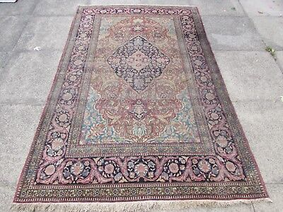 Antique Hand Made Traditional Vintage Oriental Wool Red Blue Rug 210x142cm