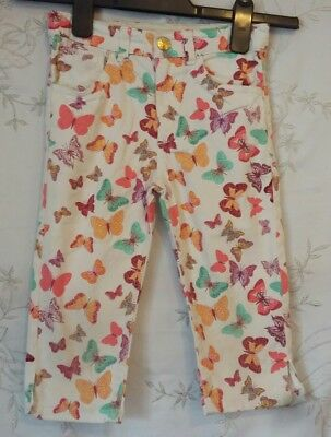 H&M Conscious Collection Butterfly Cropped Jeans White Age 4-5 Excellent