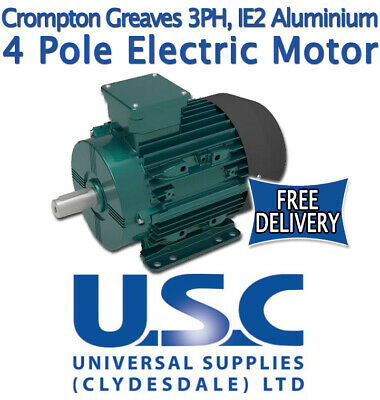 4 Pole IE2 Electric Motor Aluminium SKF Bearings Crompton Greaves 3 Phase Foot