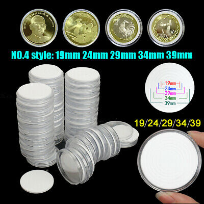 US 50X 19/24/29/34/39mm Clear Acrylic Coin Round Storage PS Case Capsules Holder