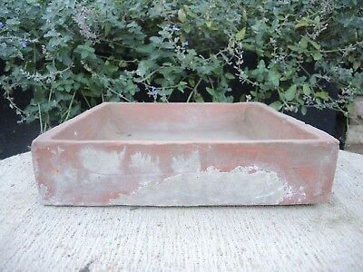 """Rare Old  Hand Thrown  Vintage Square Terracotta Seed Pan 12"""" Square (1186)"""