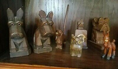 LOT Antique Hand Carved Wooden Scotty Dog Owl  Figures Bookends Glass eyes