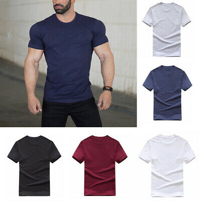 Men Summer Short Sleeve T-Shirt Crew-Neck Basic Cotton Tee Slim Fit Casual Tops