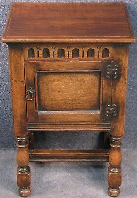 Jacobean Style Small Solid Carved Oak Bedside Cabinet