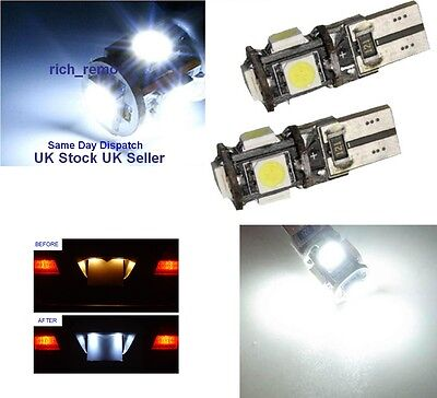 2X XENON WHITE Canbus Error Free T10 W5W 501 194 Wedge (capless) 5SMD 5050 LED