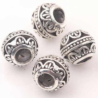 10Pcs Tibetan Silver Charms Spacer Big Hole Beads Jewelry Making Findings Crafts