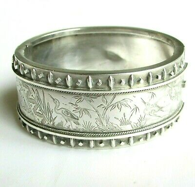 Antique Victorian solid silver wide chunky bangle bracelet