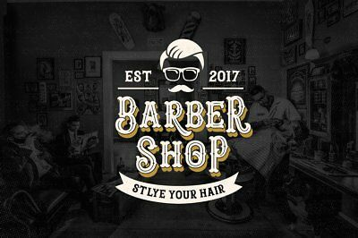 Barber Shop Window Stickers Traditional  Signs Decal Salon Hairdresser USA Style