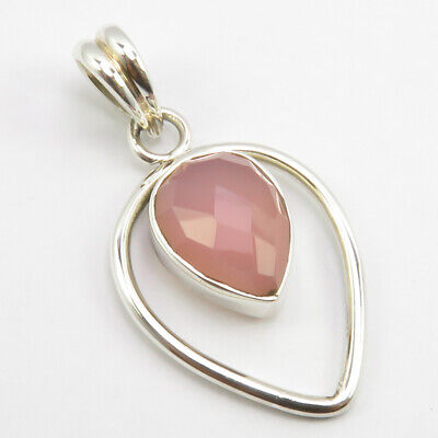 925 Solid Silver Faceted Rose Quartz Pendant 3.5 cm 3.0 Grams Handmade Gift