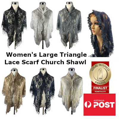 Women's Large Triangle Lace Scarf Catholic Mass Veil Latin Church Wedding Shawl