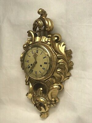 Gold Gilt Cartel Clock Chimes On A Bell