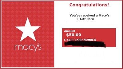 Macy's $50 Gift Card Fast Delivery E Gift 50 Macys
