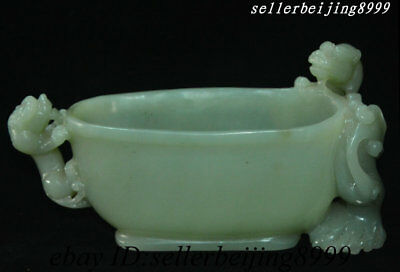 Old China Natural He Tian Jade Pixiu Beast Angle Of cup horn Cup Wine-cup Statue