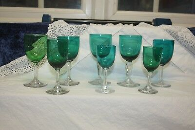 Lovely Victorian Set Of 8 Green Drinking Glasses  Clear Stem Hand Blown