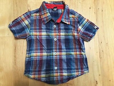 Boys Blue Red Plaid Short Sleeve Cotton Button Up Shirt Baby Gap Size 3T 3