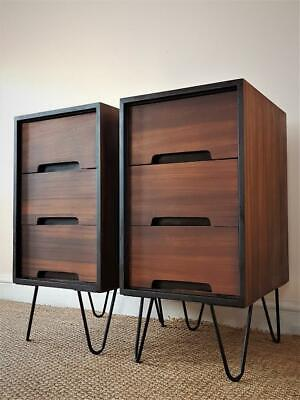 Stag C-Range Vintage Mid Century Pair of Rosewood Bedside Chest of Drawers