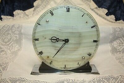Smiths Deco 8 Day Marble / Onyx Bakalite Clock On Stand 20 cms Diameter Working