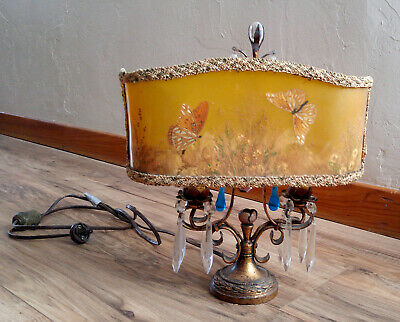 Antique Gold Gilt Cast Iron Table Boudoir Lamp, Prisms, Clip-on Butterfly Shade