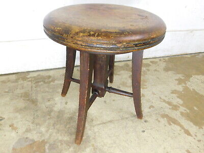 VTG Antique Arts & Crafts Milking Stool Footstool Planter Stand Table circa 1925