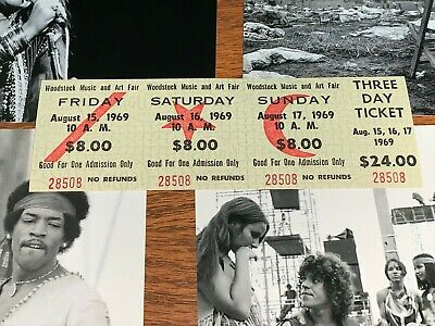 Woodstock 3 Day 1969 Original Tickets Jimi Hendrix Grateful Dead Ten Years After