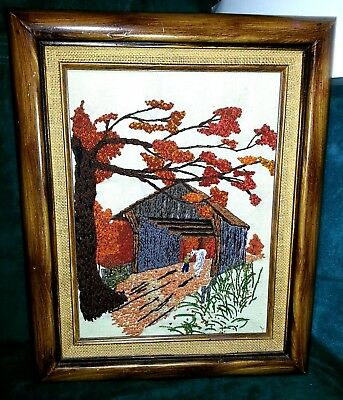 Completed Crewel Embroidery 'Covered Bridge' Framed Picture