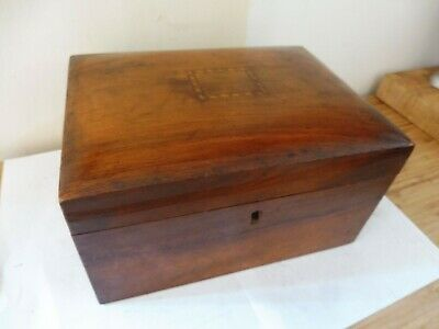 Antique  Wood Lidded Burr  With Marquertry Inlay Sewing/Trinket / Jewellery Box