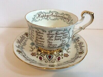 Paragon Teacup & Saucer Happy Anniversary For better or Worse England Fine China