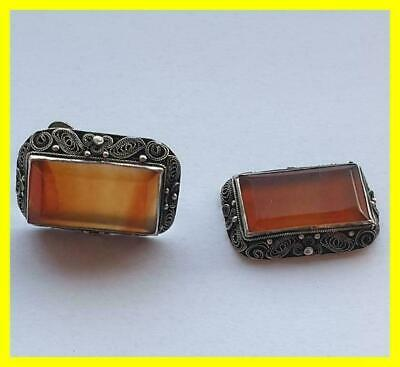 C.1920 Chinese Silver Filigree Agate Earrings, Stunning Quality